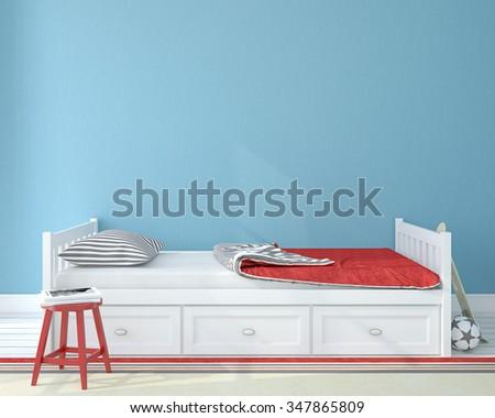 Interior of nursery.Bedroom for child. 3d render. - stock photo