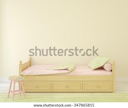 Interior of nursery.Bedroom for girl. 3d render. - stock photo
