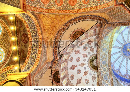 Interior of of The Sultan Ahmed Mosque, known as the Blue Mosque, Istanbul, Turkey - stock photo