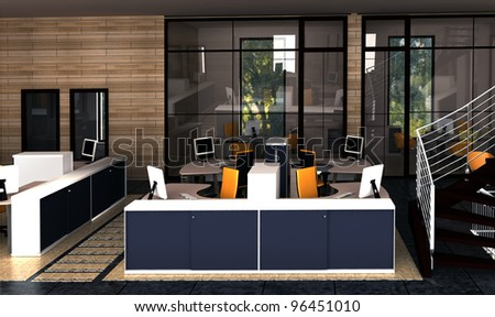 interior of of the working area office - stock photo