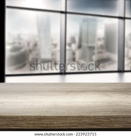 interior of office with window and top  - stock photo