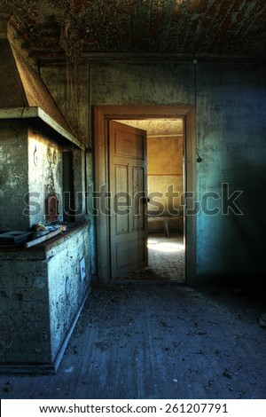 Interior of old, abandoned farm house in Southern Finland at spring morning.