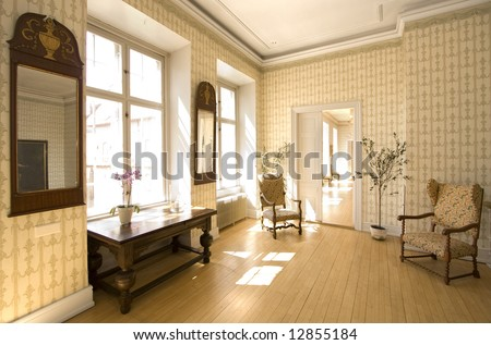Interior of old castle, Denmark - stock photo