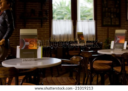interior of old coffee shop with brown decoration - stock photo