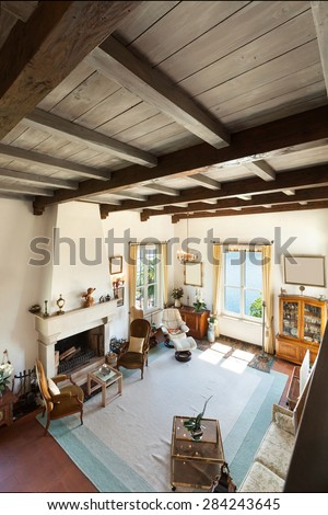 interior of old house, classic furniture, living room with fireplace , top view - stock photo