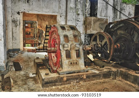 Interior of old mining factory building - stock photo