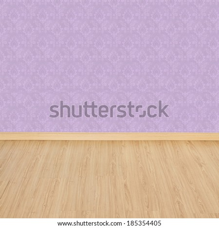Interior of Old Room with a Wooden Floor and Pink Wallpaper  - stock photo