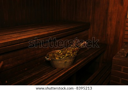 Interior of old russian wooden sauna - stock photo