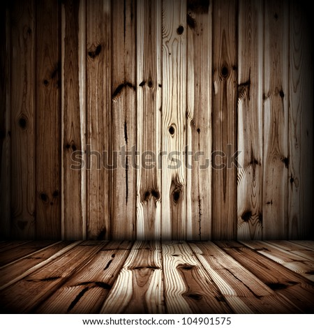 Interior of old wooden room