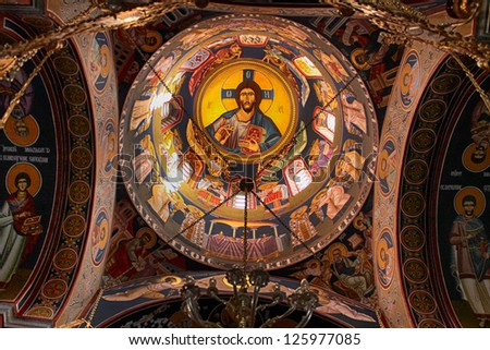 Interior of orthodox christian church in Serbia - stock photo