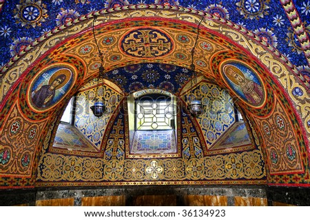 Interior of orthodox christian St. George church in Topola, Serbia - stock photo