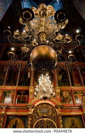 Interior of orthodox church at Moscow Kremlin - stock photo