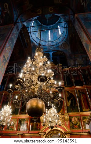 Interior of orthodox church at Moscow Kremlin - stock photo
