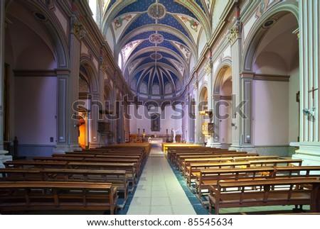 Interior of  Parish catholic church  at Tossa de Mar.  Catalonia. Spain - stock photo
