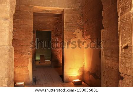 Interior of Philae Temple, Lake Nasser, Egypt - stock photo