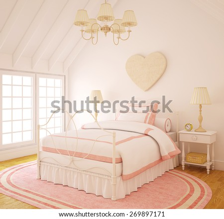 Interior of playroom for girl. 3d render. - stock photo