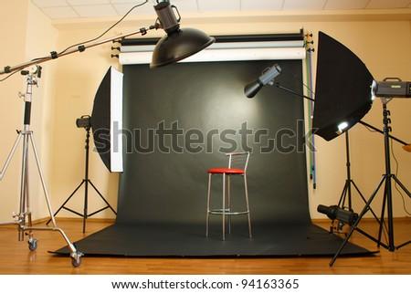 interior of professional photo studio - stock photo