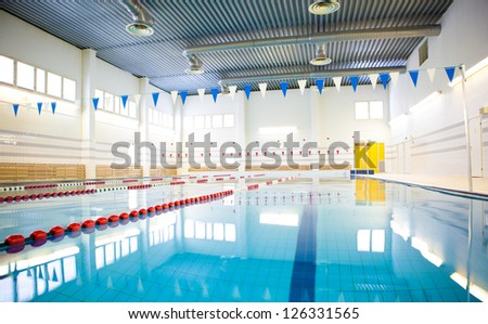 interior of public swimming pool - stock photo