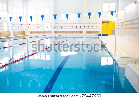 interior of public swimming pool - stock photo