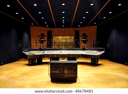 interior of recording studio control desk - stock photo