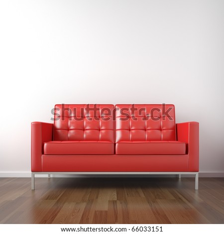 interior of red leather couch in a white room - stock photo