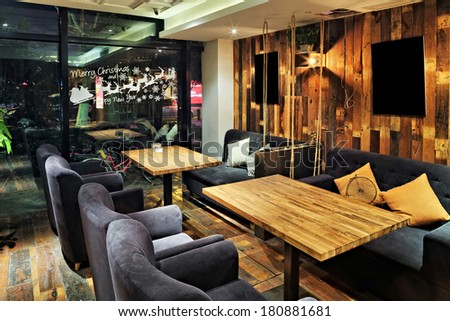 interior of restaurant - stock photo