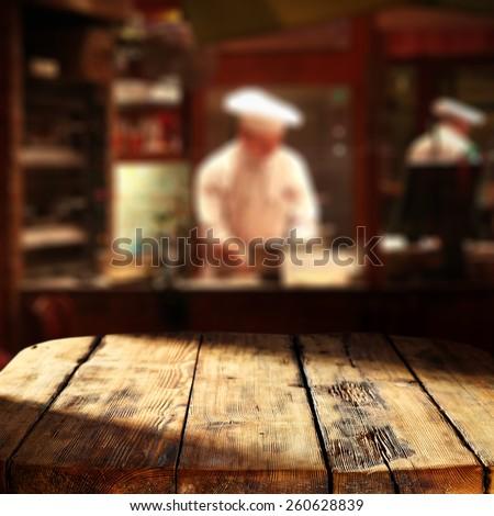 interior of restaurant and dark table  - stock photo