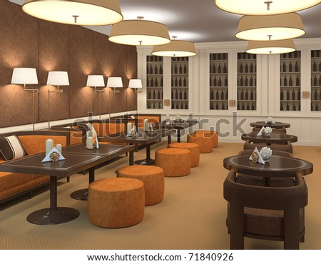 Interior of restaurant. 3d render. - stock photo
