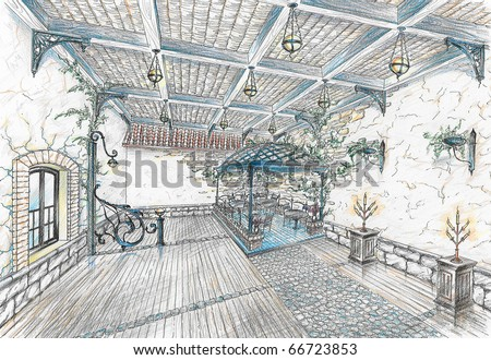 Interior of restaurant hall in style of city street - stock photo