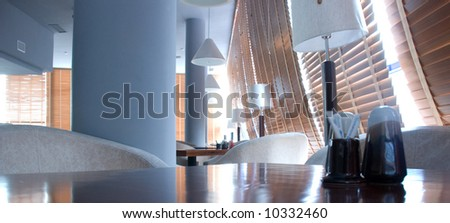 interior of restaurant in the day light - stock photo