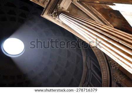 Interior of Rome Pantheon with the famous ray of light from the top - stock photo