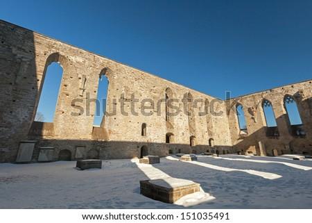 Interior of ruined St. Brigitta convent in Pirita area, Tallinn, Estonia - stock photo
