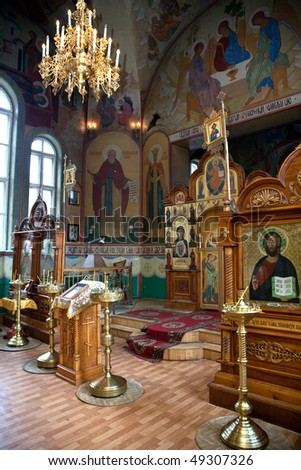 Interior of russian church - stock photo
