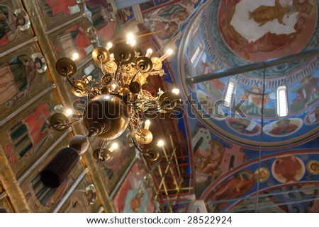 interior of russian orthodox church at Suzdal