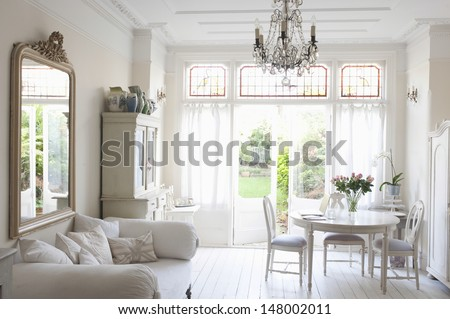 Interior of rustic home - stock photo