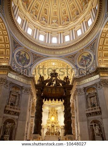 Interior of Saint Peter's dome (Basilica di San Pietro) Vatican Town, Rome, Italy. - stock photo
