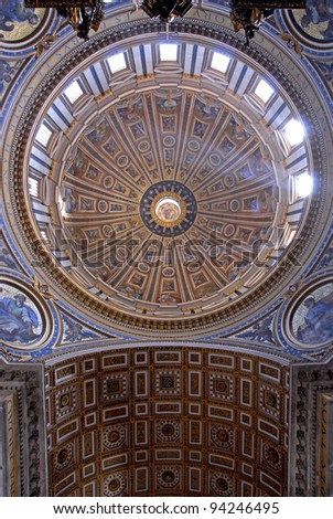 Interior of Saint Peter's dome with wide angle lens (Basilica di San Pietro) Vatican Town, Rome, Italy. - stock photo