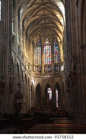 Interior of Saint Vitus Cathedral  in Prague,   Czech Republic - stock photo