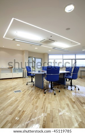 interior of shiny boardroom - stock photo