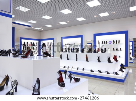 Interior of shoe shop - stock photo