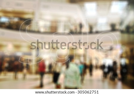 interior of shop and sale mark  - stock photo