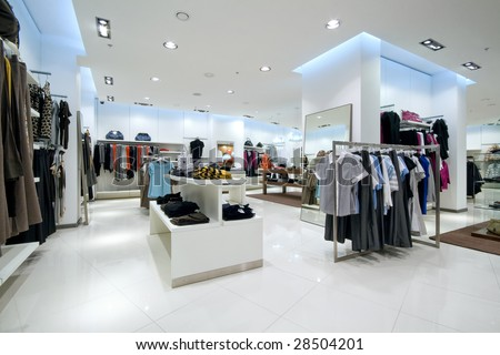 Interior of shopping mall - stock photo