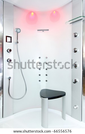 Interior of shower room with hydro jets - stock photo