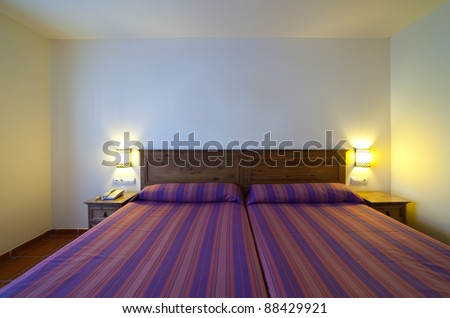 interior of  simple bedroom with two   bed - stock photo
