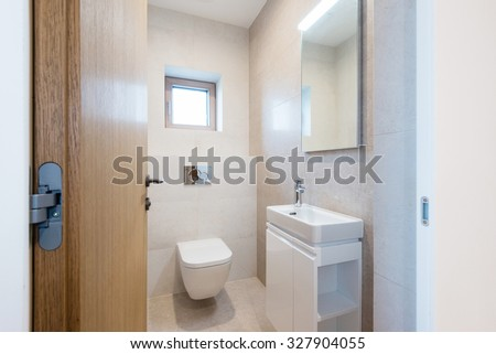 interior of small bathroom in modern house