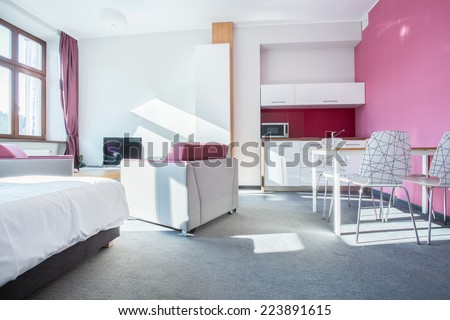 Interior of small modern apartment with pink wall - stock photo