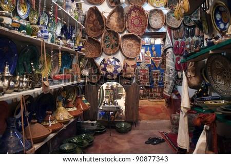 Interior of small shop in Ourzazate in Morocco - stock photo