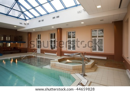 interior of spa center - stock photo