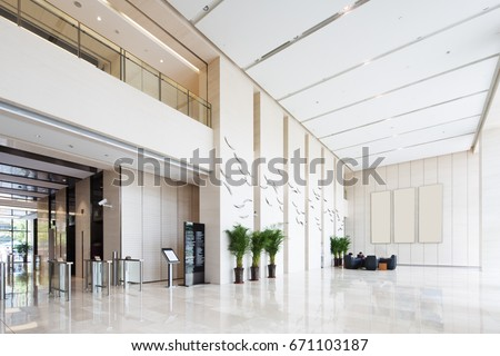 Interior spacious bright entry hall modern stock photo for Small office entrance design