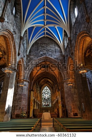 Interior of St Giles Cathedral. Edinburgh. Scotland. UK. - stock photo